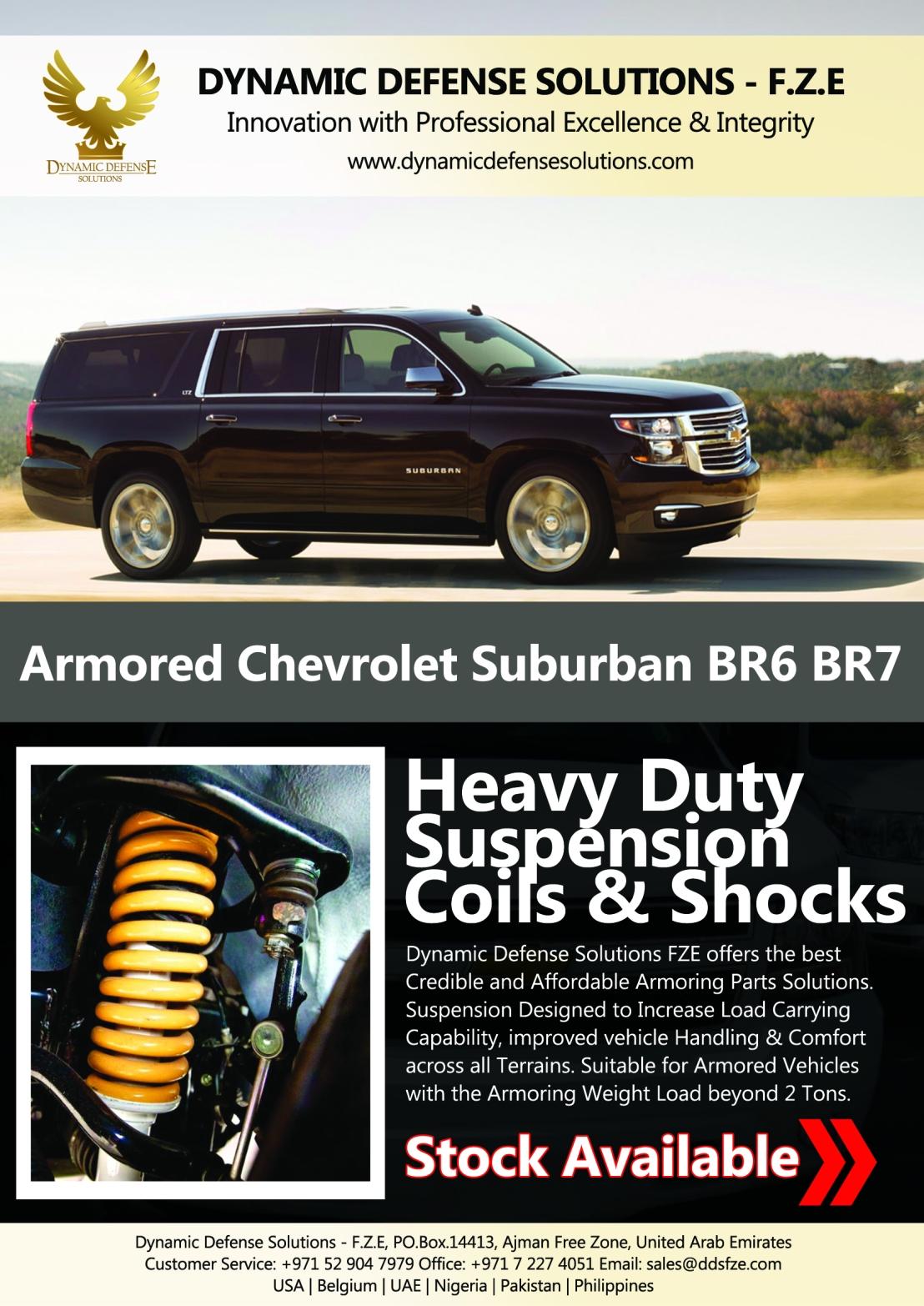 Armored Chevrolet Suburban B6 B7 Heavy Duty Suspension Shocks And